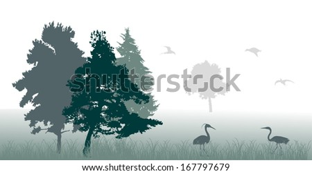 illustration with tree and birds silhouettes