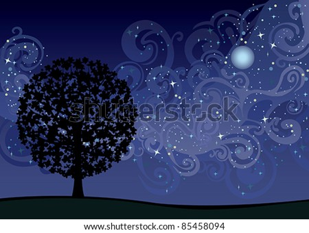 Illustration with tree under night sky with stars and milky way - stock vector