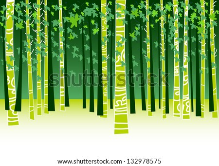 Illustration with trees and leaves. Spring and summer - stock vector
