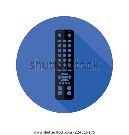 illustration with TV remote control icon on a white background - stock vector