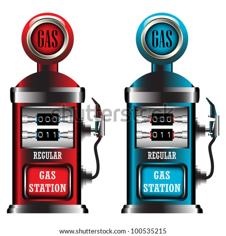 Illustration with two gas station pumps made in red and blue - stock vector