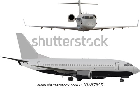 illustration with two planes isolated on white background - stock vector