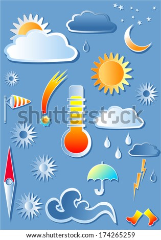 Illustration with weather icons. Set of clipped icons for weather forecast. A little gradients are used in vector file, all elements are grouped. - stock vector