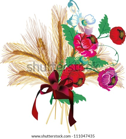 illustration with wheat and flowers isolated on white background