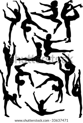 illustration with woman gymnast silhouettes collection