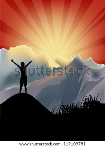 illustration with woman on peak in mountains at sunset - stock vector