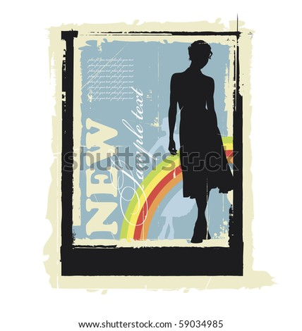 Illustration women's silhouettes. Behind them is a rainbow. Near this area there are a field for text. - stock vector