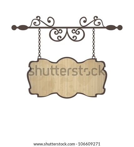 Illustration wooden sign with place for text, floral forging elements - vector - stock vector