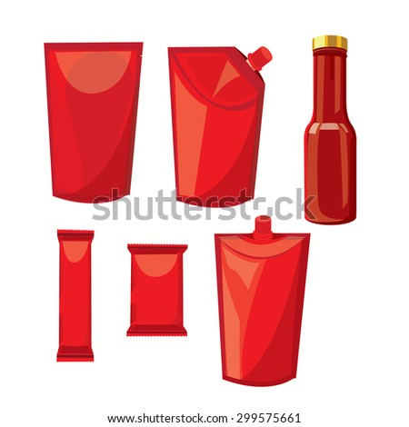 illustration. wrap, plastic, foil, packet, packaging. Hot sauce - stock vector