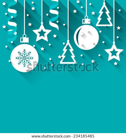 Illustration Xmas background with fir, balls, stars, streamer, trendy flat style - vector - stock vector
