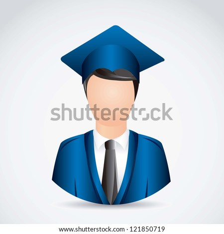 Illustration young man graduating with mortarboard, vector illustration - stock vector