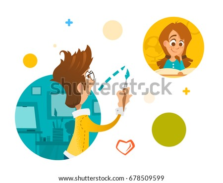 Illustration Young people boy and girl in social network internet concept