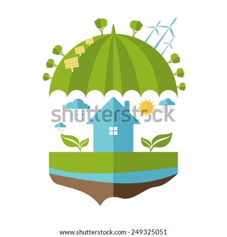 Illustrations concept of umbrella and earth with icons of ecology, environment, green energy. Vector  - stock vector