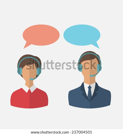 Illustrations flat icons of call center operators with man and woman wearing headsets, people isolated on white background - vector - stock vector