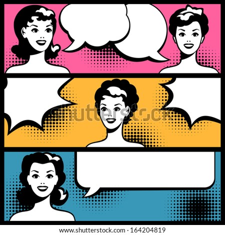 Illustrations for comic books with retro girl in pop art style. - stock vector