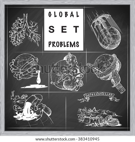 Illustrations for various environmental topics. Icons set. Sketch imitating chalk drawing on a blackboard. Sketch is isolated on a separate layer. EPS10 vector illustration. - stock vector