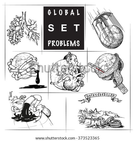 Illustrations for various environmental topics. Icons set. Sketch isolated on white background. EPS10 vector illustration. - stock vector