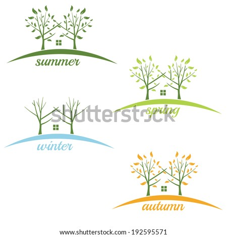 Illustrations house with trees in the style of negative space by - stock vector