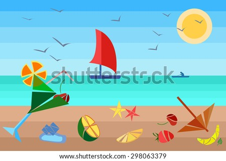 Illustrations into a flat style. Cocktails on the beach, fruit, birds flying under the hot sun and a ship on the horizon of the sea. The modern concept for design. Vector illustrations