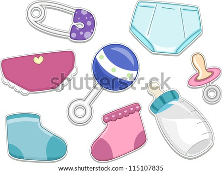 Illustrations of Baby Products That Can be Printed Out as Stickers - stock vector