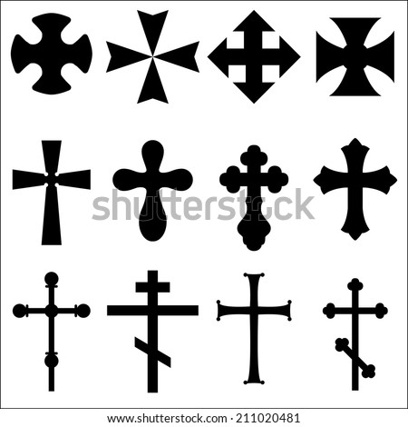 Illustrations of crosses different geometric forms. Black Silhouettes of crosses: Catholic, Orthodox, Christian, Celtic, pagan. Symbols of different religions, crosses for the grave. White background.