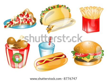 Illustrations of different fast foods icons, that can be used as a symbol, bullet, button or design element. Part of the food icon series. - stock vector