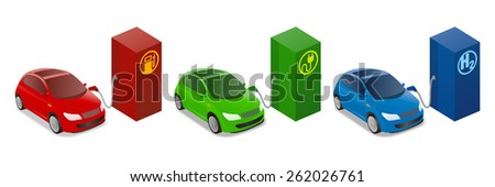 Illustrations of Gasoline Powered vehicle, Electric vehicle, Fuel cell vehicle - stock vector