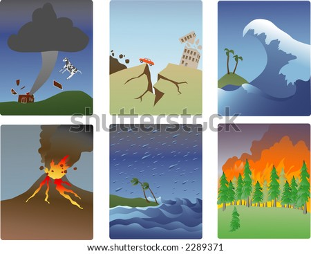 illustrations of natural disasters-tornado, earthquake, tsunami, volcano, hurricane, forest fire - stock vector