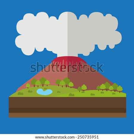 illustrations of natural disasters,volcano - stock vector