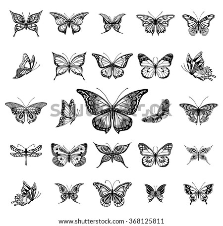 Illustrations of tatto style butterflies - stock vector