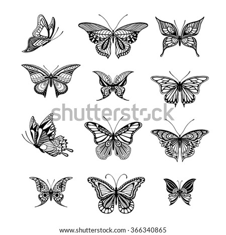 Illustrations of tattoo style butterflies - stock vector
