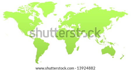 Illustrations of the world with all the countries visible. In green color. - stock vector