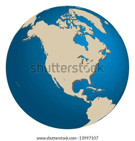 Illustrations of the world with focus on North America - stock vector