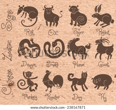 Illustrations or icons of all twelve Chinese zodiac animals. Vector illustration. - stock vector
