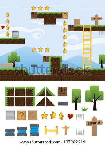 illustrations  platform for game - stock vector