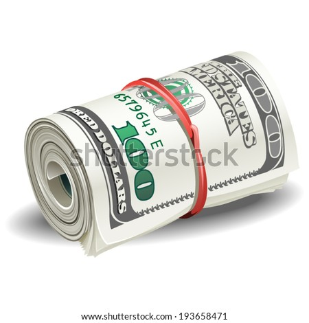 illustrations roll of money - stock vector