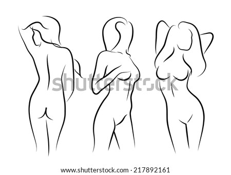 illustrations vector women naked art human beauty body drawing - stock vector