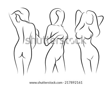 illustrations vector women naked art human beauty body drawing - stock vector