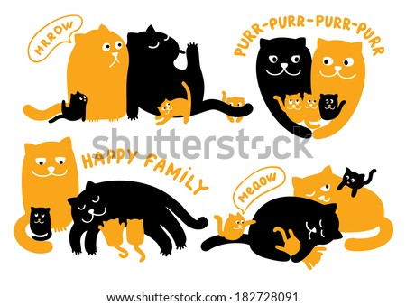 Illustrations With Family Of Cats - stock vector