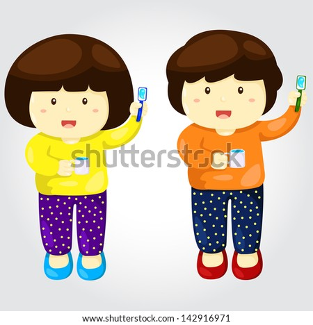 Illustrator of boy and girl - stock vector
