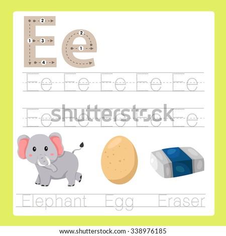 Illustrator of E exercise A-Z cartoon vocabulary  - stock vector