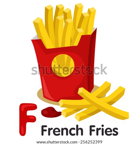 Illustrator of F font with french fries - stock vector