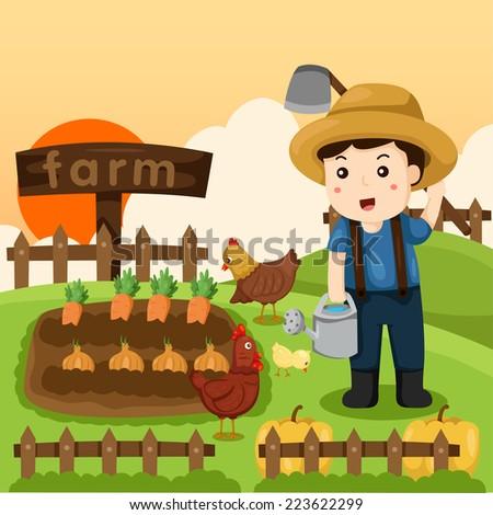 Illustrator of farm and farmer with animal - stock vector