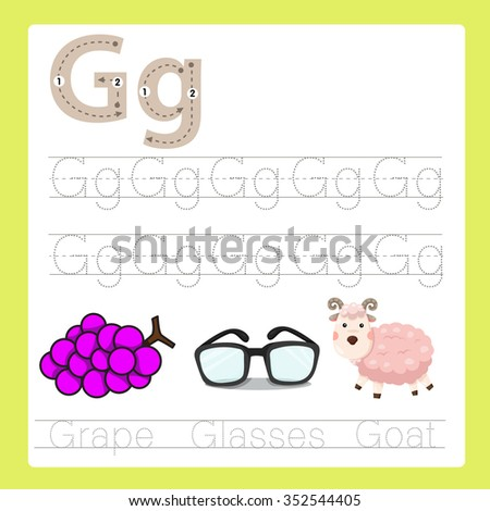 Illustrator of G exercise A-Z cartoon vocabulary - stock vector