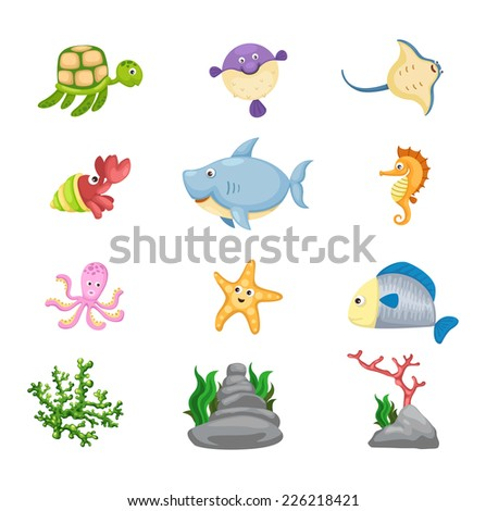 Illustrator of  isolated marine life vector - stock vector