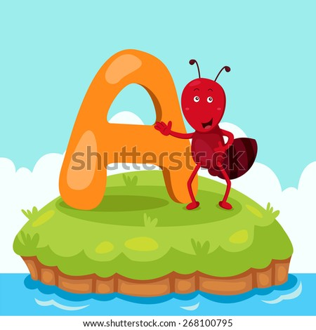 Illustrator of Letter 'A is for ant' - stock vector