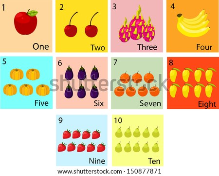Illustrator of number with fruit - stock vector