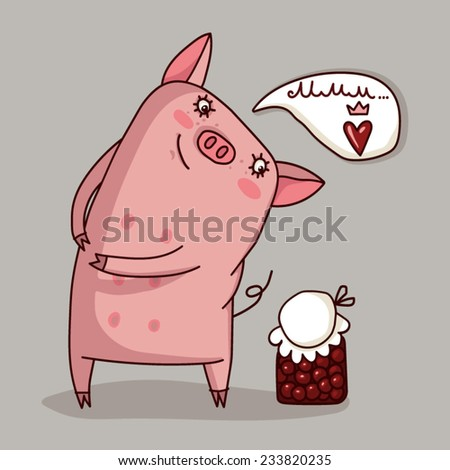 Illustrator of pig cute vector - stock vector