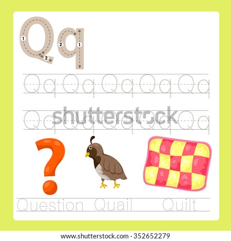 Illustrator of Q exercise A-Z cartoon vocabulary - stock vector