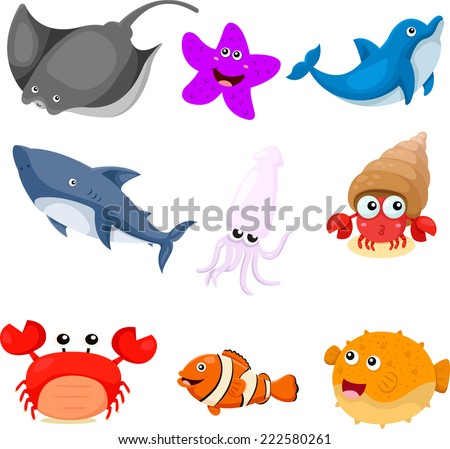 Illustrator of sea animals set  - stock vector